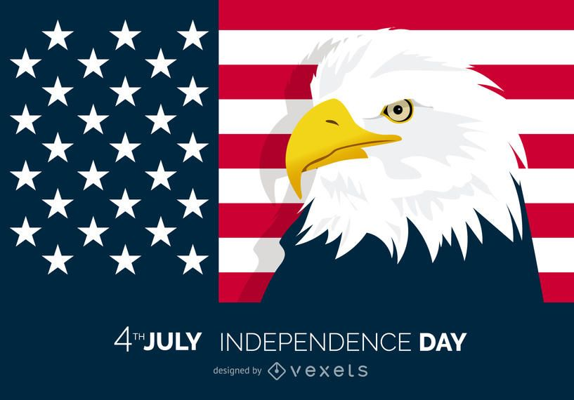 Patriotic 4th of July poster with eagle