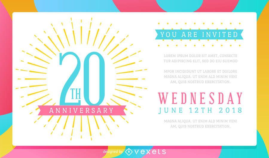 Invitación colorida de la celebración del aniversario de boda