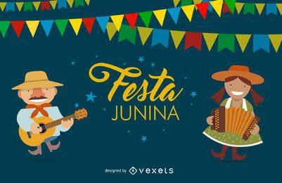 Flaches Festa Junina Design
