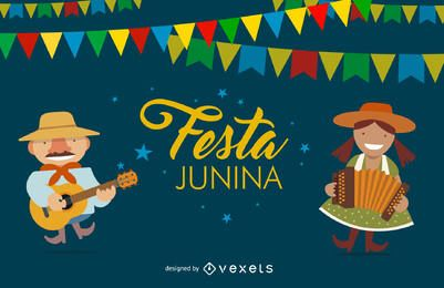 Flat Festa Junina design