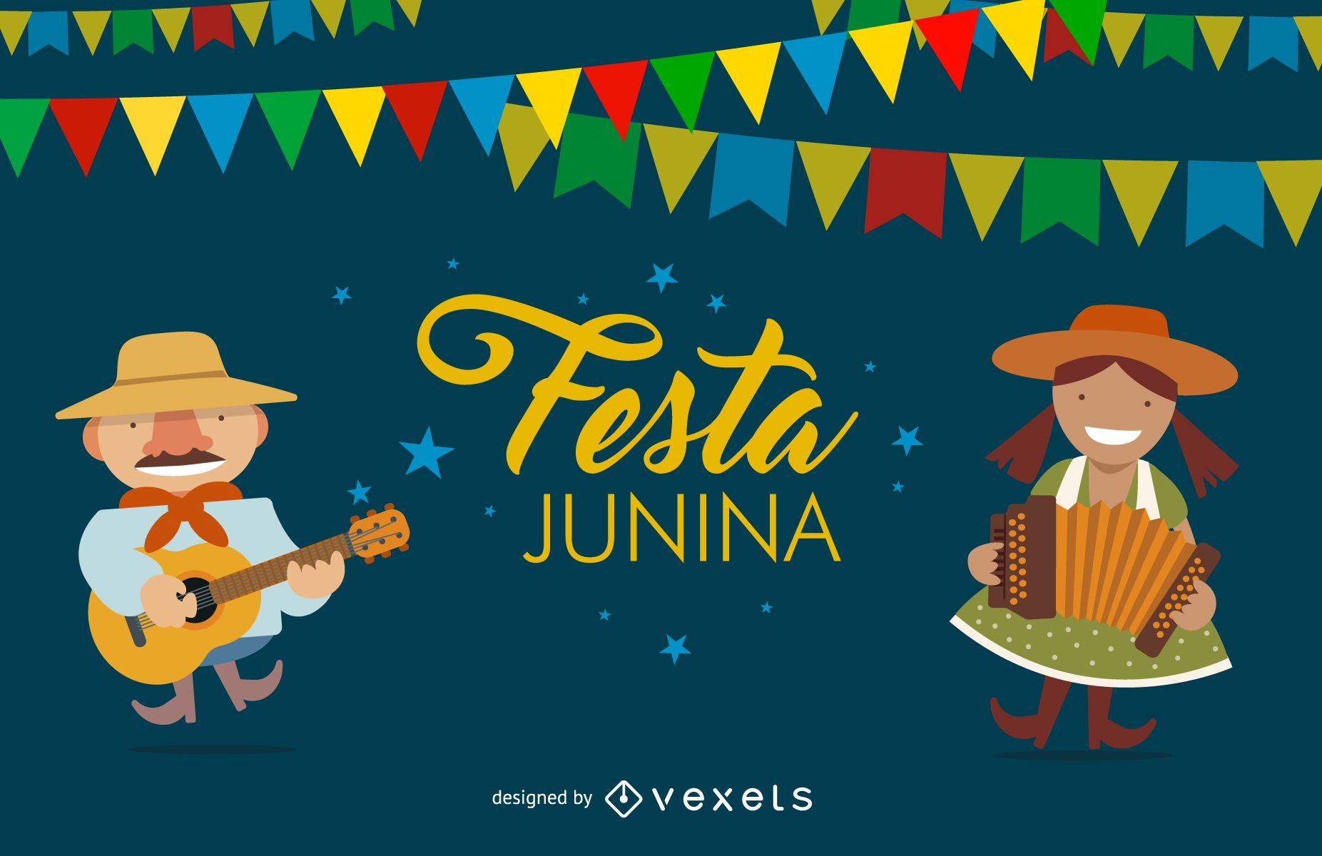 Flat Festa Junina design