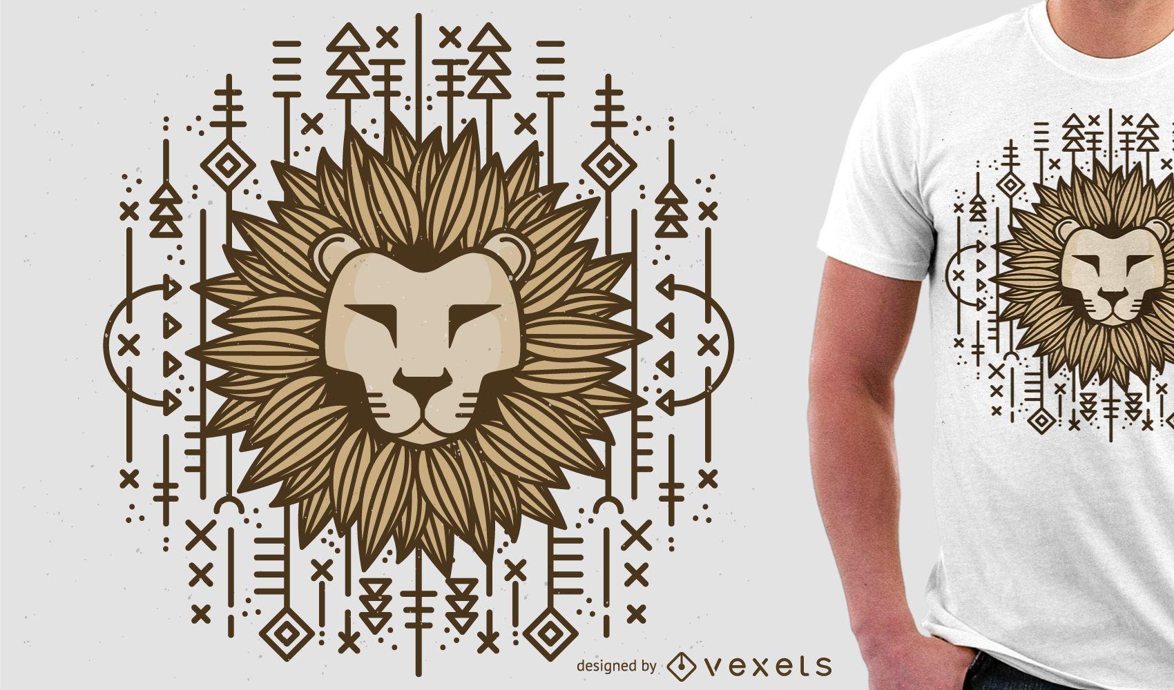Ilustración de león para mercancía de camiseta.