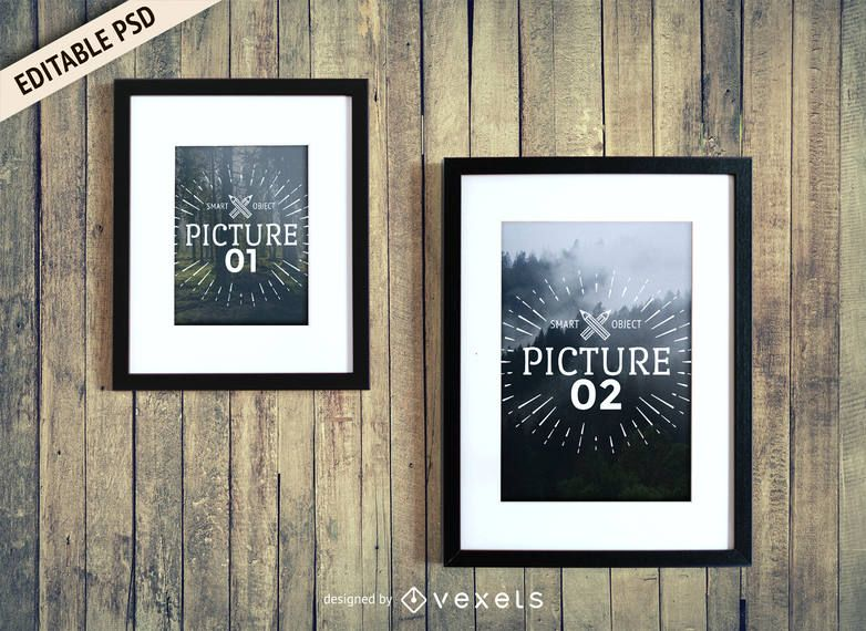 Frames on wall PSD mockup