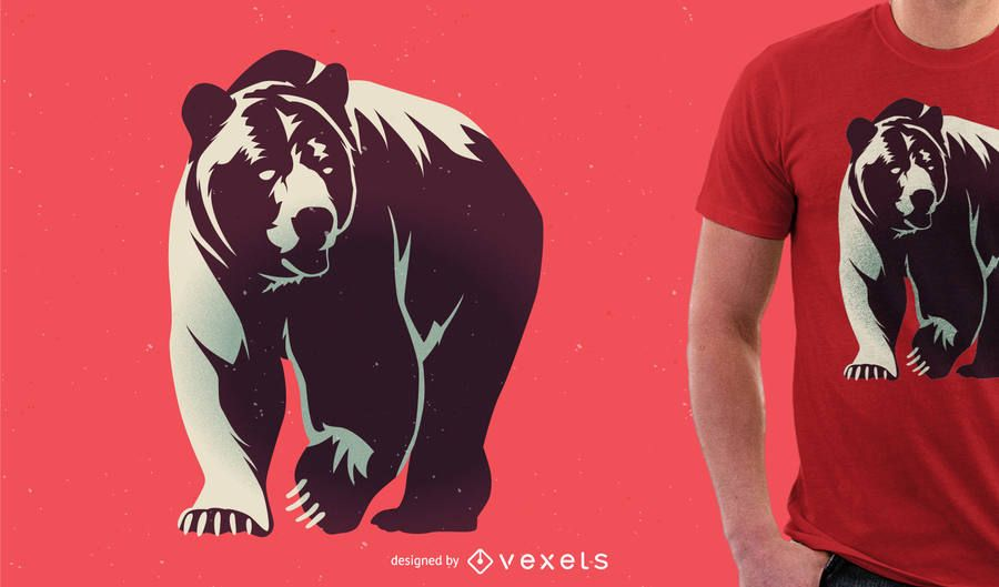 Bear illustration for tshirt merchandise