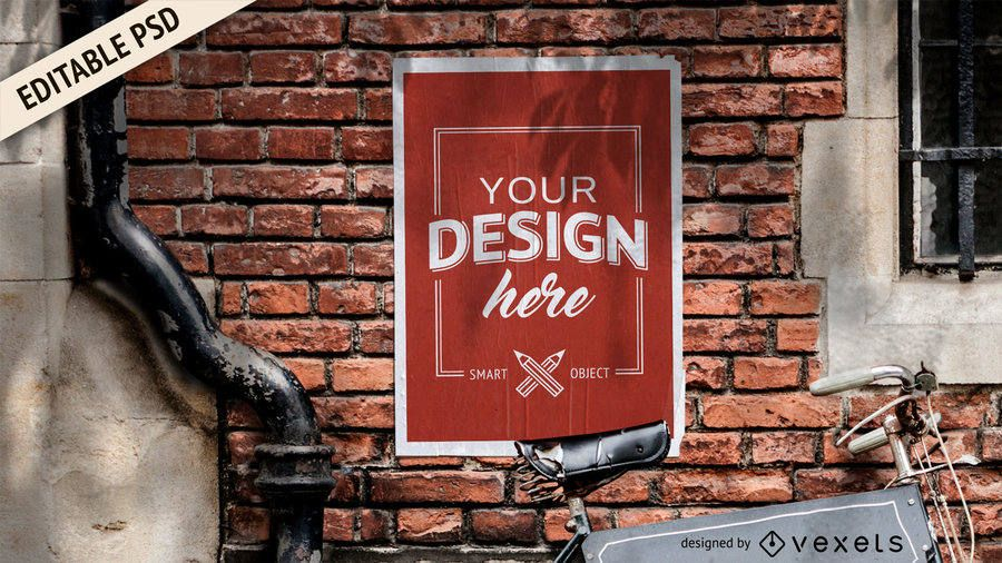 Poster over wall PSD mockup