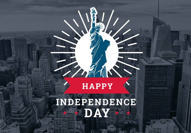 Feliz dia da independência design de crachá