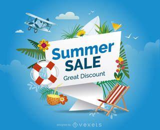 Diseño de venta de verano con elementos.