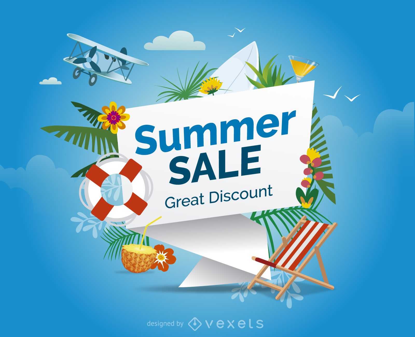Summer sale design with elements vector download for Designer badmobel sale