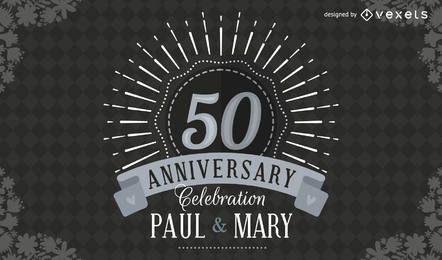 Invitación de boda elegante 50 aniversario