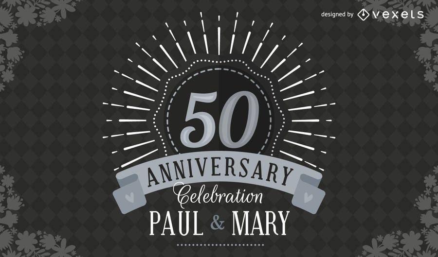 Convite de casamento elegante 50 aniversário