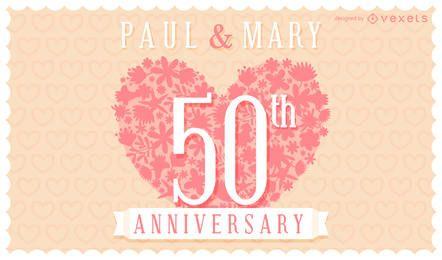 Cartão de convite de aniversário de casamento floral