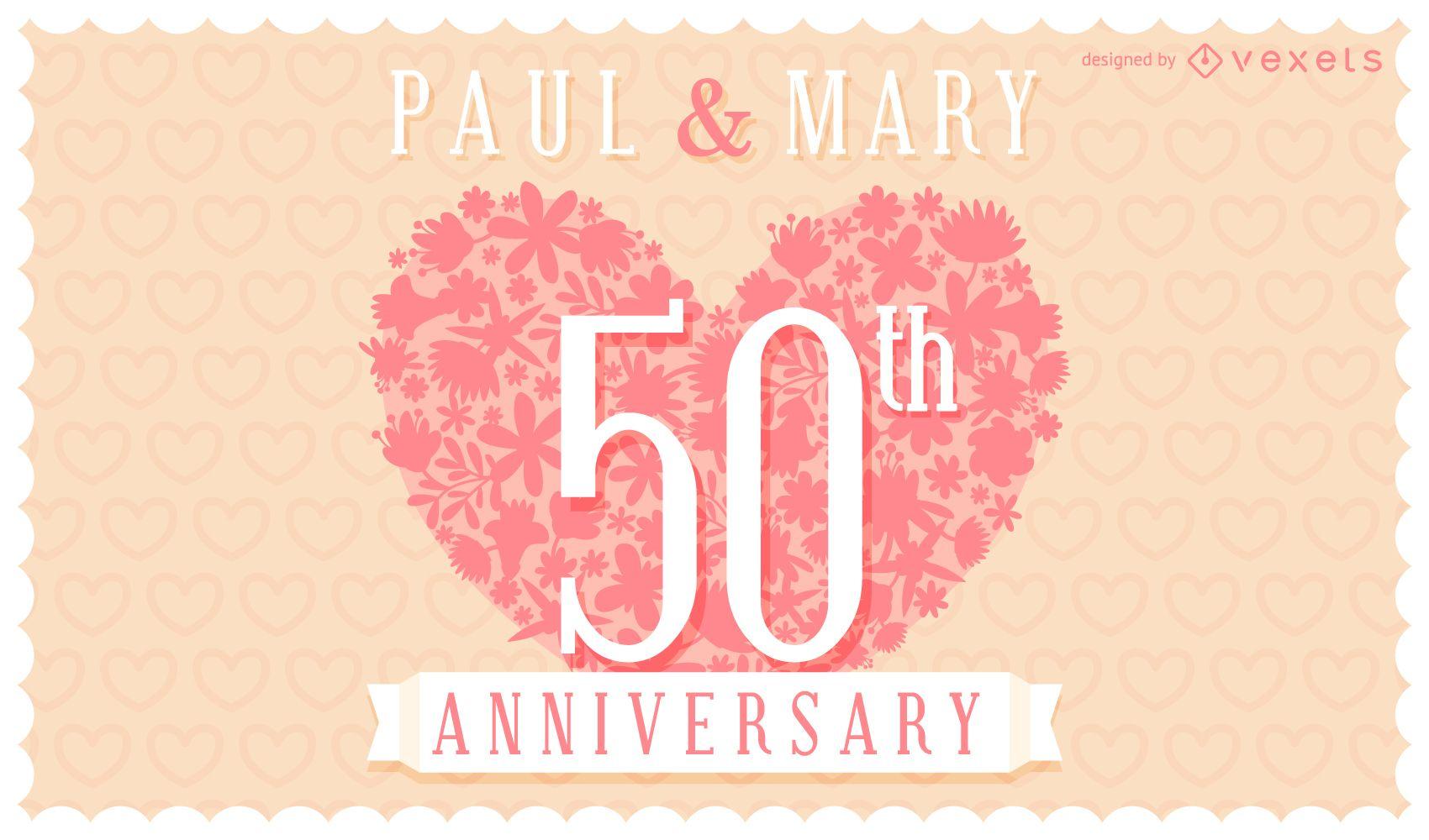 Floral wedding anniversary invitation card vector download for Wedding anniversary images download