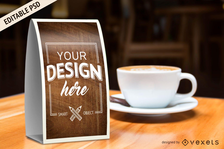 Maquete do PSD do sinal promocional do coffeeshop