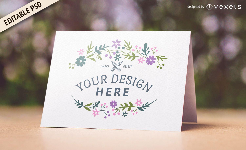 Wedding card PSD mockup design