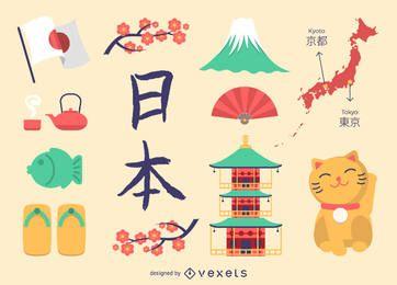 Conjunto de ícones do Japão plana