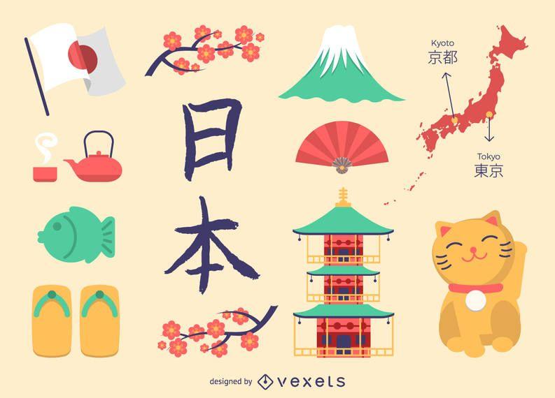 Conjunto de iconos de Japón plana