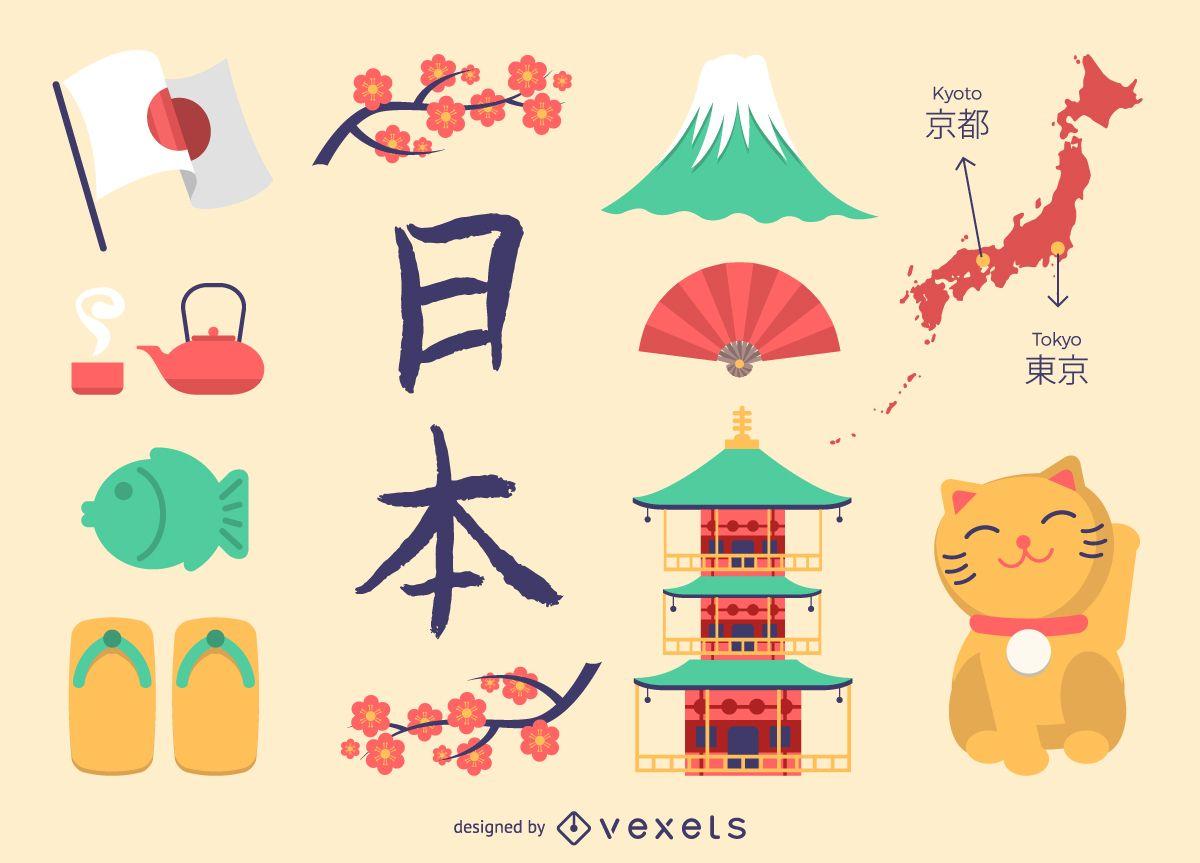 Conjunto de iconos de Japón plano