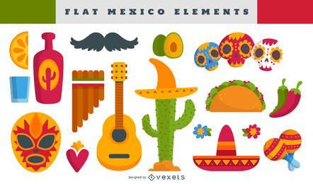 Conjunto de ilustración de elementos mexicanos