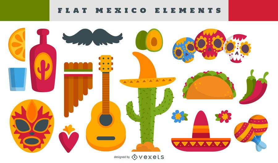 Conjunto de ilustração de elementos mexicanos