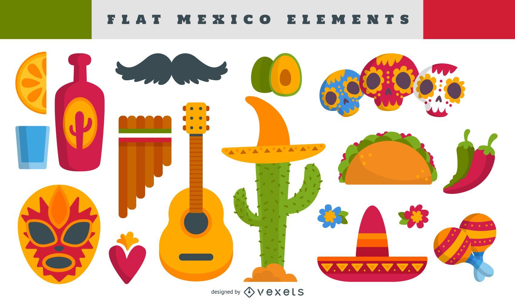 Mexican elements illustration set