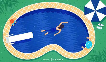 Ilustración de piscina con nadadores.