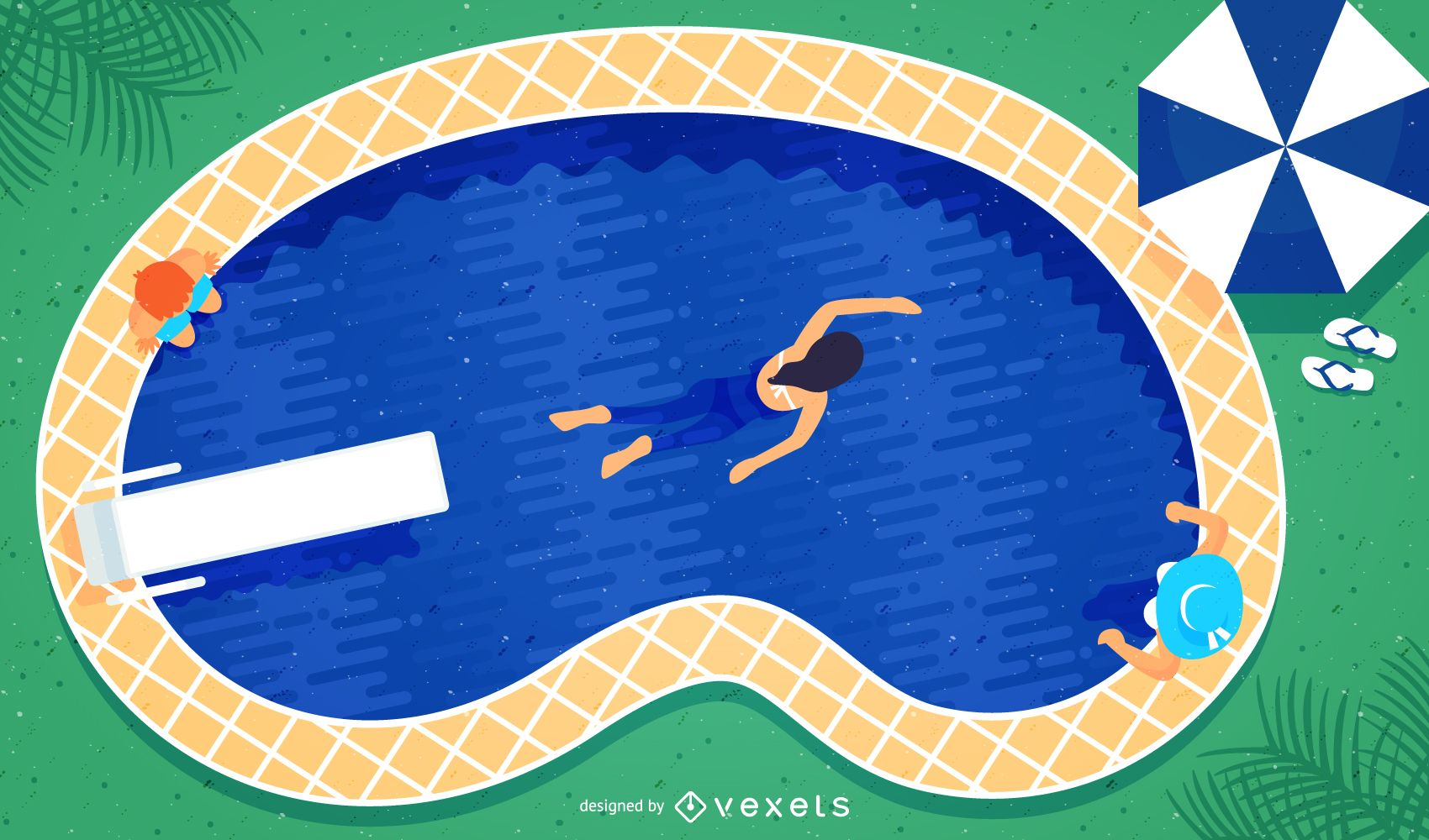 Pool illustration with swimmers