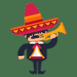 Mariachi que juega la historieta de la trompeta