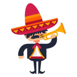 Mariachi tocando trompeta de dibujos animados