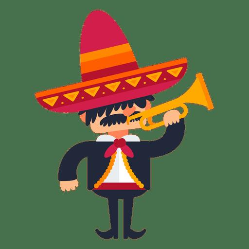 Mariachi tocando trompeta de dibujos animados Transparent PNG