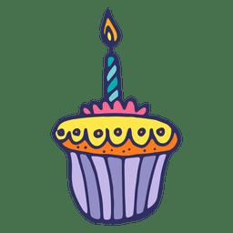 Vela de muffin de aniversário