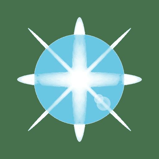 Blue star lens flare