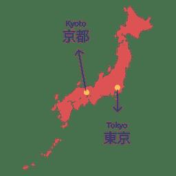 Capital del mapa de japon