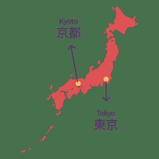 Capital del mapa de Japón