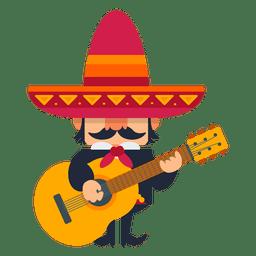 Mariachi mexicano tocando violão