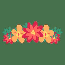 Corona de flor roja naranja