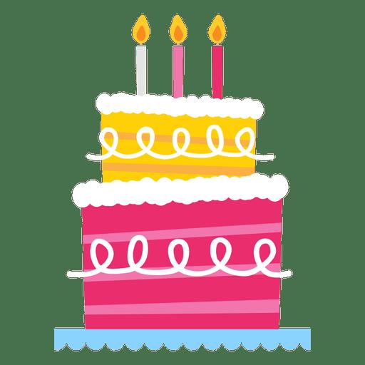 Pastel de cumpleaños rosa Transparent PNG