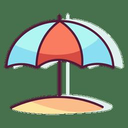 Sol da praia do guarda-chuva