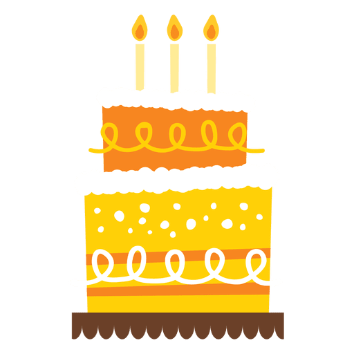Yellow birthday cake Transparent PNG SVG vector