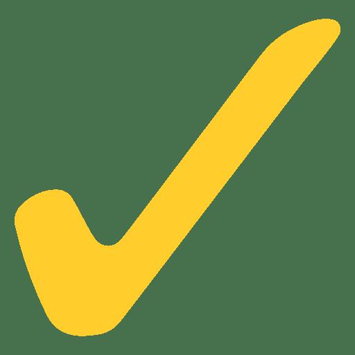 Yellow flat check mark Transparent PNG