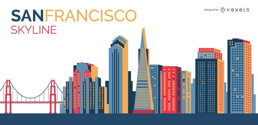 San Francisco Colorful Skyline Vector Download