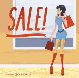 Moda, senhora, segurando, bolsas para compras