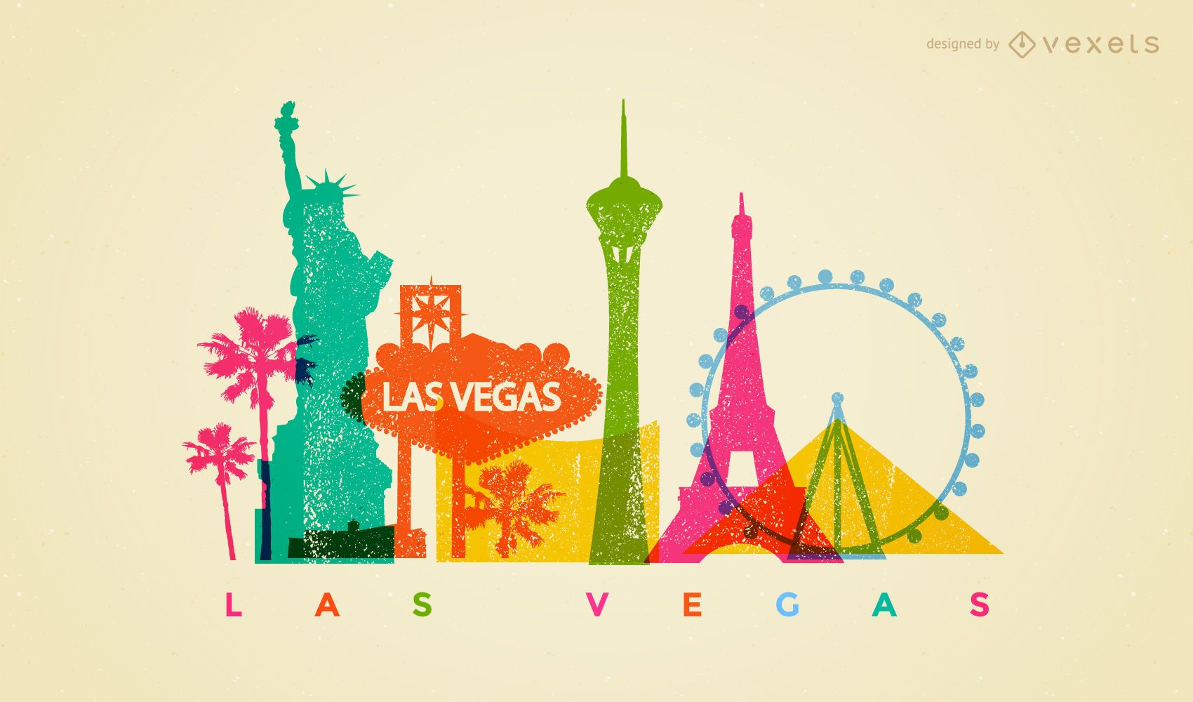 Las Vegas Colorful Skyline Design Vector Download