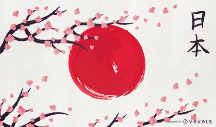 Japan künstlerische Flagge