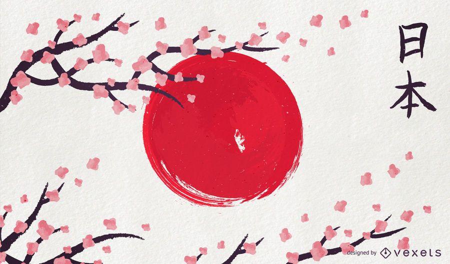 Japan artistic flag