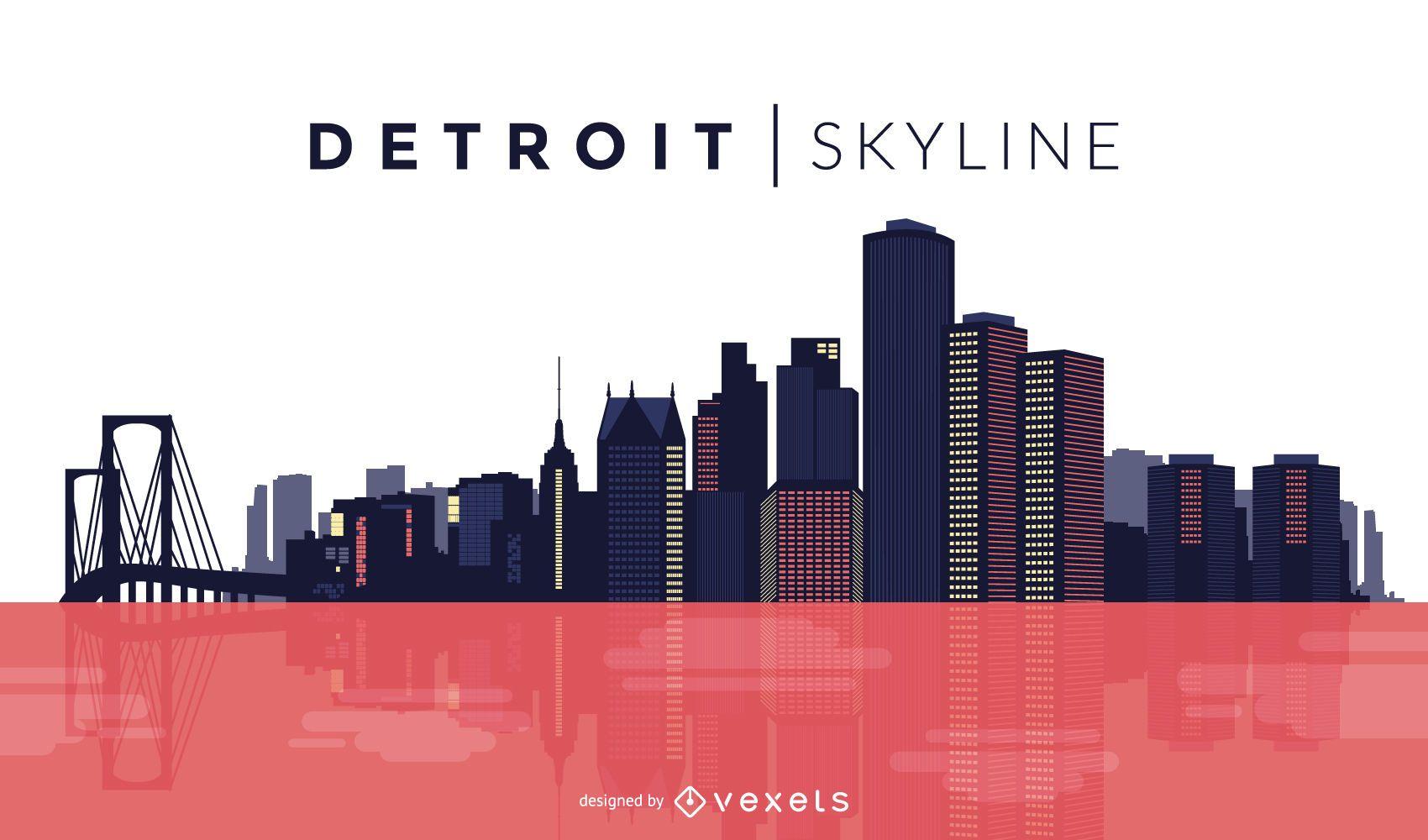 Detroit color skyline