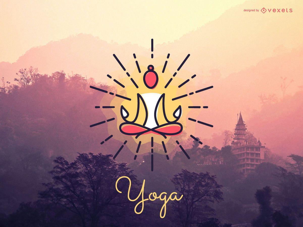 Modelo de ícone de logotipo de meditação em ioga