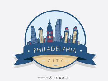 Emblema do logotipo da skyline de Philadelphia
