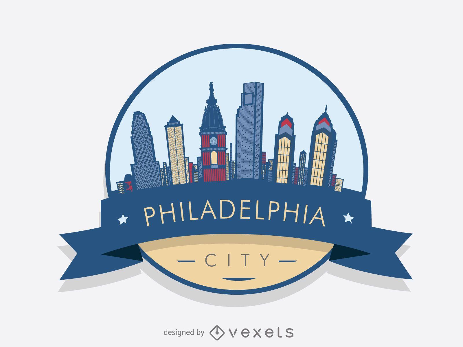 Philadelphia skyline logo badge
