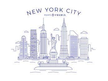Línea delgada de la ciudad de Nueva York Skyline