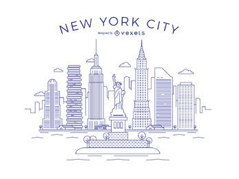 Linha fina de Nova York Skyline